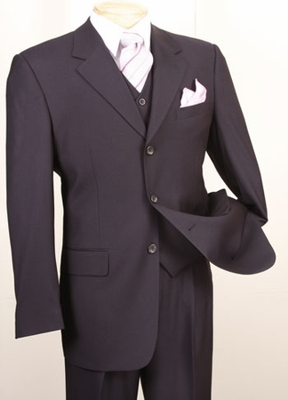 Vinci Navy Blue 3 Piece Suit Mens Solid Color Wool Feel N3TR-3 - click to enlarge