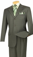Vinci Mens 3 Button Suit Olive Green Window Pane Plaid 3RW-15