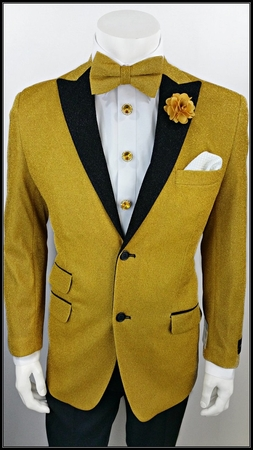 Mens Entertainer Jacket Gold Glitter Dinner Blazer A.Midnight  - click to enlarge