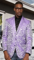 Manzini Blazer Mens Shiny Lavender Entertainer Jacket MZS-140