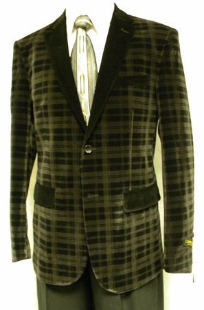 Carmashi Mens Grey Black Plaid Velvet Fashion Jacket B6082 - click to enlarge