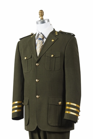 Canto Mens Olive Military Style Pocket Fashion Suit 8391 - click to enlarge