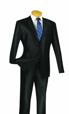 Shiny Black Slim Fit Suits Glossy Fitted 2 Button Vinci S2RR-4 - click to enlarge