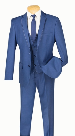 Slim Fit Tuxedo with Vest 3 Piece Blue Tux SV2T-8 - click to enlarge
