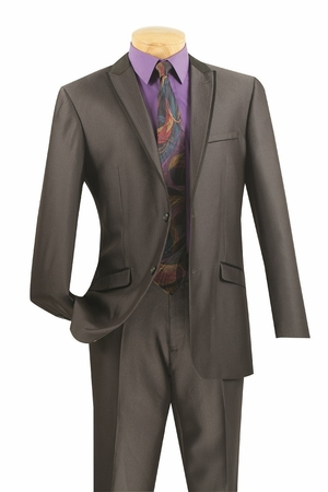 Slim Suits Mens Sharp Charcoal Two Button Italian Style S2TT-1 - click to enlarge