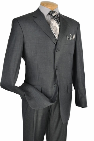 Vinci Solid Charcoal Gray 3 Button Mens Business Suits 3RS - click to enlarge