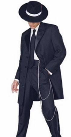Mens Black Zoot Suit 1940s Style Tuxedo Look by Fortino T903V - click to enlarge