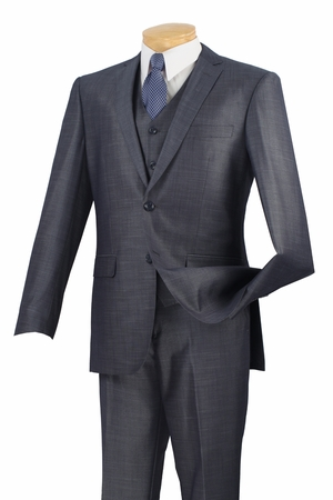 Slim Fit Suits Vinci Mens Silk Style Blue 3 Piece SV2R-2 - click to enlarge