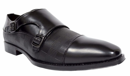 Antonio Cerrelli Mens Black Double Monk Strap Dress Shoes 6670 - click to enlarge