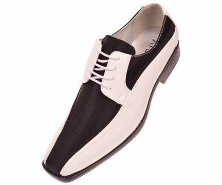 Viotti Mens White Black Stripe Satin Tuxedo Shoes 179 IS