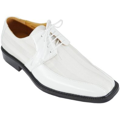 Expressions Mens White Satin Stripe Dress Shoes 6159 IS