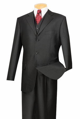 Vinci Mens Shiny Black 3 Piece Suit V3RR-4 - click to enlarge