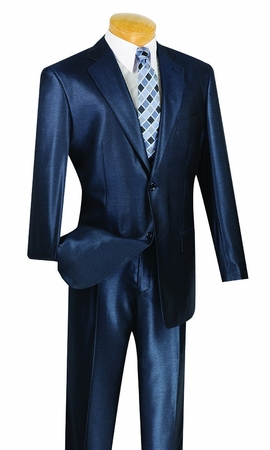 Mens Sharkskin Suit Shiny Blue 2 Button 2 Piece 2SK-1 - click to enlarge