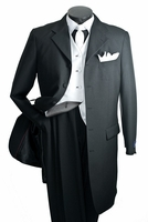 Vittorio Black Zoot Suit 3 Piece T3036V Size 52L Final Sale