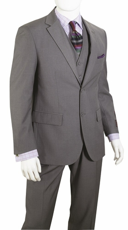 Mens Gray Modern Fit 3 Piece Suit Wool Feel T62W - click to enlarge