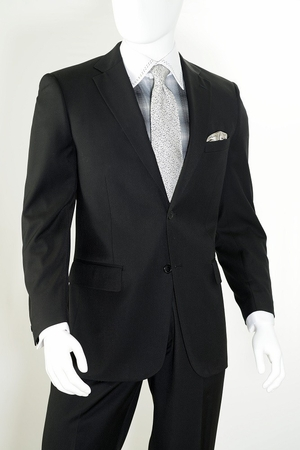 Vittorio Mens Black Modern Fit Suit 2 Piece A62W  - click to enlarge
