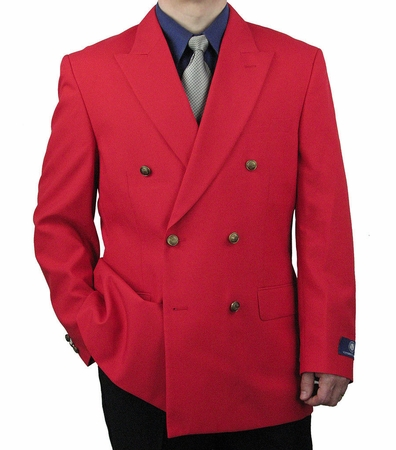 Vittorio Mens Red Double Breasted Classic Blazer Z76B - click to enlarge