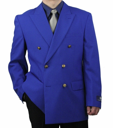 Vittorio Mens Royal Blue Double Breasted Classic Blazer Z76B - click to enlarge