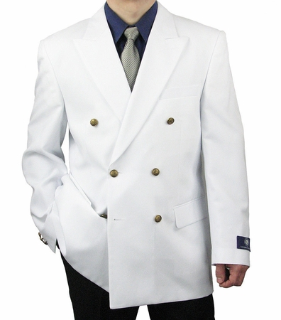 Vittorio Mens White Double Breasted Classic Blazer Z76B - click to enlarge