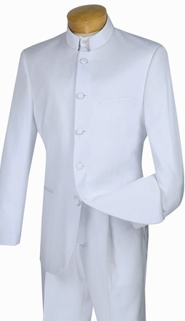 Mens White Nehru Chinese Collar Suits By Vinci 5 Button N5HT - click to enlarge