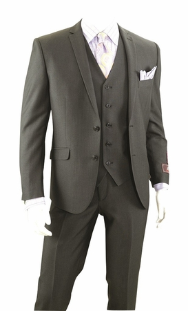Vittorio St. Angelo 3 Pc. Slim Fitted Suits Black Heather T62LU - click to enlarge