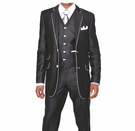 Slim Style Suit by Milano Moda Mens Black Shiny 3 Piece 5702V1 - click to enlarge