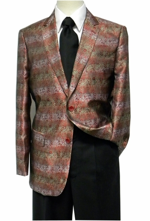 Pronti Mens Red Shiny Swirl Pattern Fashion Blazer 6132 - click to enlarge