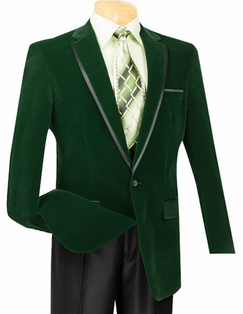 Vinci Mens Emerald Green Velvet Blazers 1 Button B-16 - click to enlarge