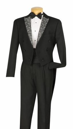 Vinci Mens Black Swirl Lapel Tuxedo With Tails Formalwear T-AX - click to enlarge