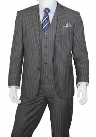 Mens Pinstripe Suit Grey 3 Piece by Vittorio T62RS - click to enlarge