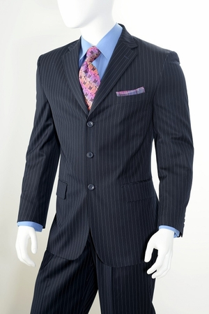 Vittorio St. Angelo Mens 3 Button Pinstripe Suit Navy A63ETS - click to enlarge