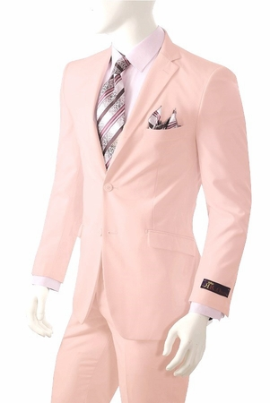 Mens Pink Color Suit Pleat Pants Vittorio St. Angelo A72TE - click to enlarge