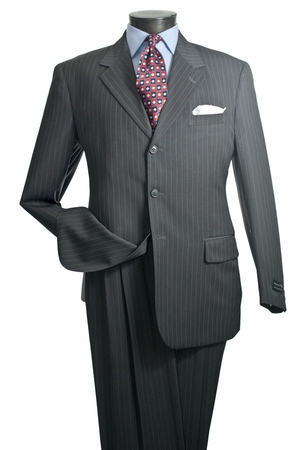 Vittorio St. Angelo Mens Big and Tall Pinstripe 3 Button Suit A63TRS   - click to enlarge
