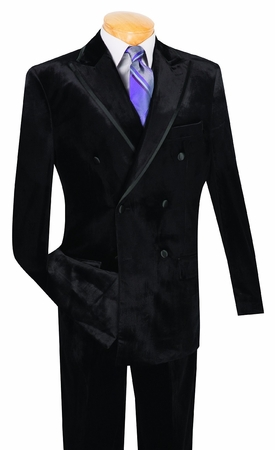 Vinci Mens Black Velvet Double Breasted Suit DV-1 Final Sale Size 54R - click to enlarge