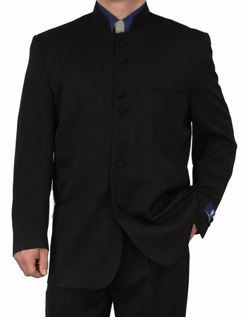 Fortini Milano Mens  Black 8 Button Chinese Collar Style Suit 5905 - click to enlarge