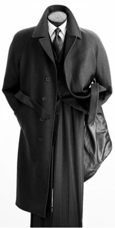 Vittorio St. Angelo Mens Black Full Length Wool Overcoat COAT06 - click to enlarge