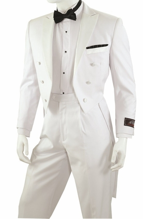 White Tuxedo with Tails for Men Regular Fit Vittorio Y613W - click to enlarge