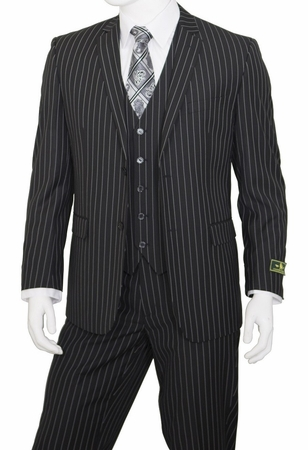 Mens Pinstripe Suit Black 3 Piece by Vittorio T62RS - click to enlarge