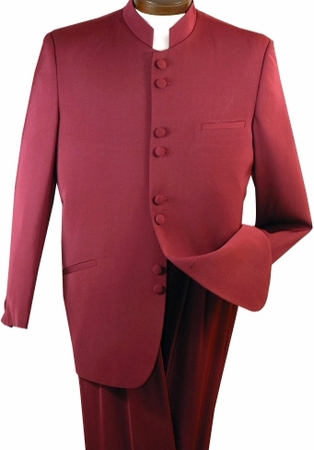 Mens  Burgundy 8 Button Chinese Collar Style Suit Alberto M782GA  - click to enlarge