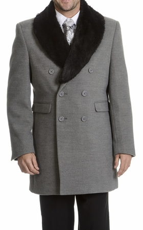 Blu Martini Gray Double Breasted Wool Top Coat 4150-101 Craig - click to enlarge