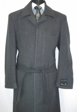 Blu Martini Mens Aero Charcoal Full Length Wool Overcoat 4150-011 - click to enlarge