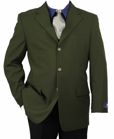 Vittorio St. Angelo Mens Olive Green 3 Button Blazer Z73TA - click to enlarge