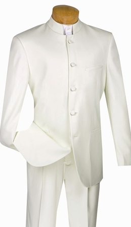 Mens Ivory Chinese Collar Suits By Vinci 5 Button 5HT - click to enlarge
