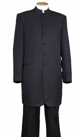 Chinese Collar Suit Long Jacket Black Mandarin Milano 6905H - click to enlarge
