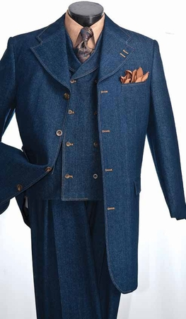 Vittorio St. Angelo Mens Blue Denim Urban Fashion Suit HDM34V IS Size 40 long - click to enlarge