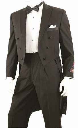 Vittorio St. Angelo Mens Black Tuxedo with Tails Y613W - click to enlarge