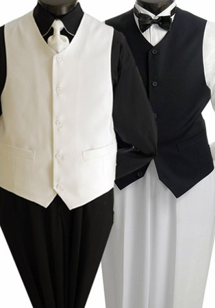 Mens Catering Waiter Uniform Vest V-PP - click to enlarge