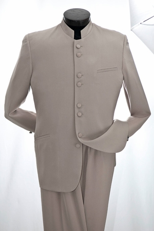 Vittorio St. Angelo Mens Taupe 8 Button Chinese Collar Style Suit M782GA  - click to enlarge