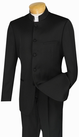 Mens Black Chinese Collar Suits By Vinci 5 Button 5HT - click to enlarge