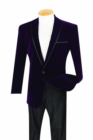 Vinci Mens Purple Velvet Blazers 1 Button B-16 - click to enlarge